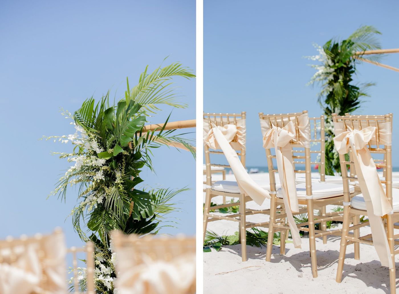 Clearwater Beach Wedding Venue Hilton Clearwater Beach   Modern Tropical Beach Wedding Ceremony with Gold Chiavari Chairs and Champagne Sash Bows and Tropical Palm Frond Leaf Floral Arrangement
