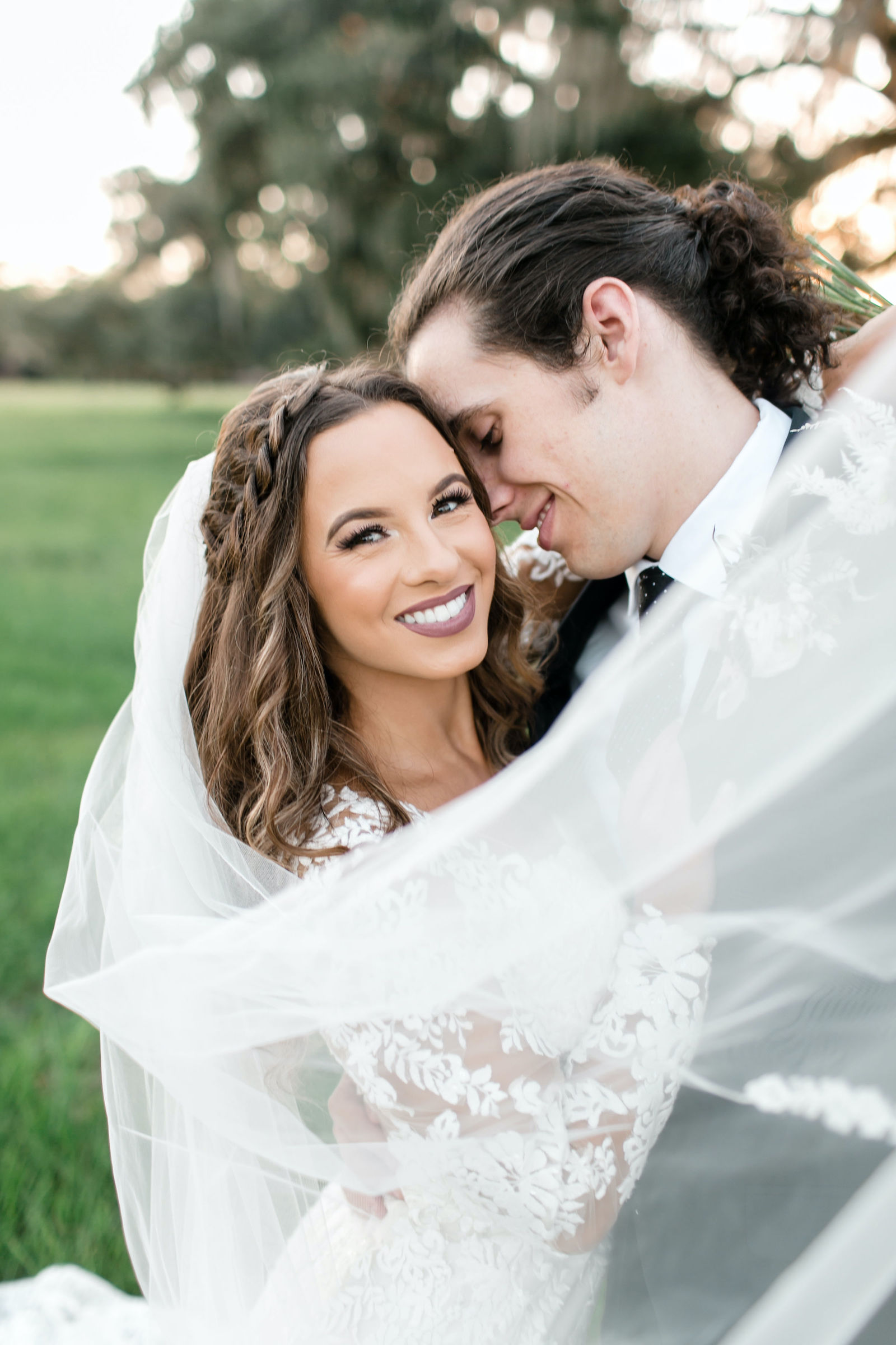 Outdoor Bride and Groom Portrait | Wedding Photography Veil Shot