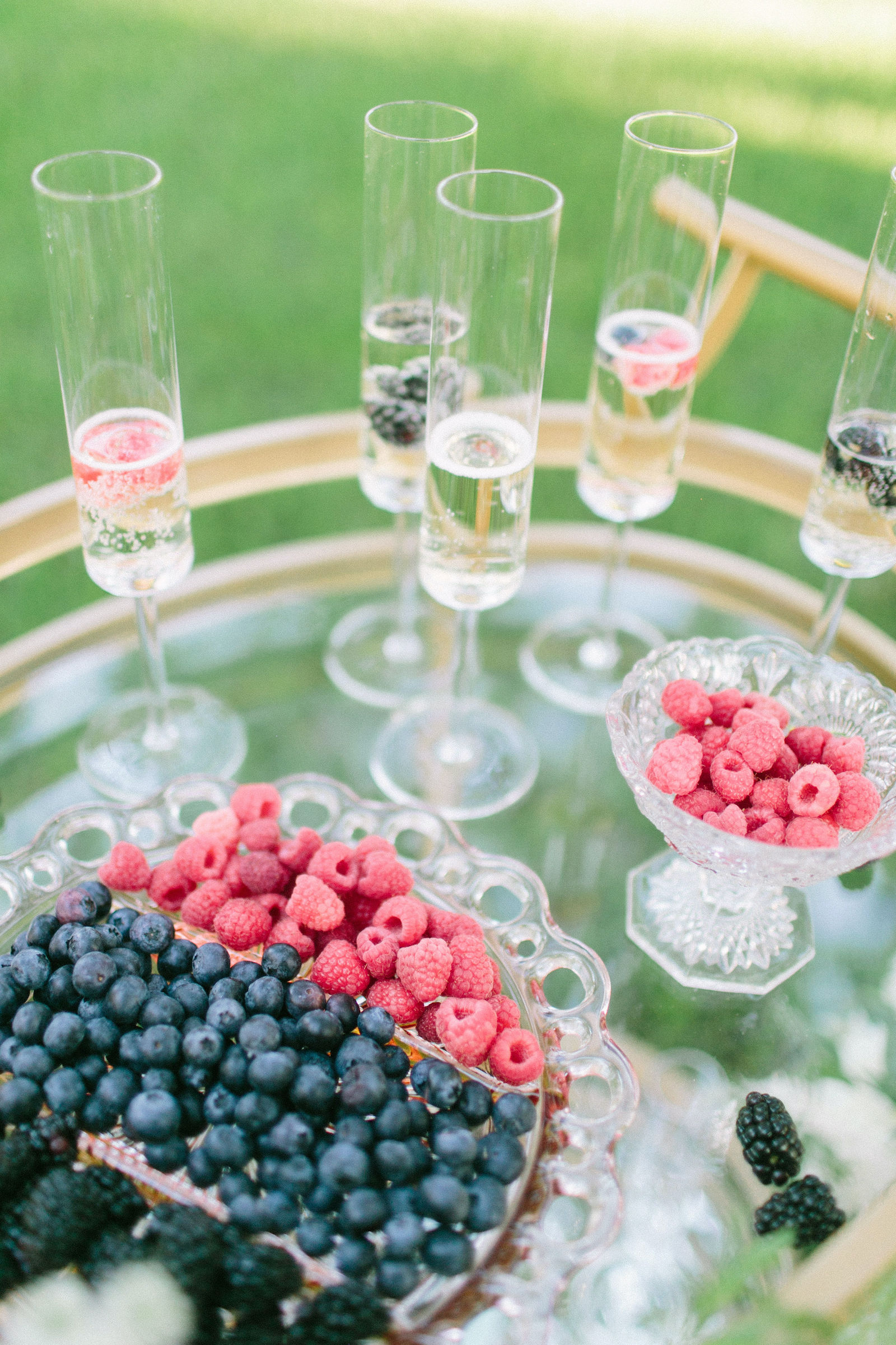 Outdoor Brunch Breakfast Wedding Champagne Cart Bubbly Bar With Gold Vintage Bar Cart With Vintage Glass Trays And Fresh Blackberries Raspberries And Blueberries Marry Me Tampa Bay Local Real Wedding