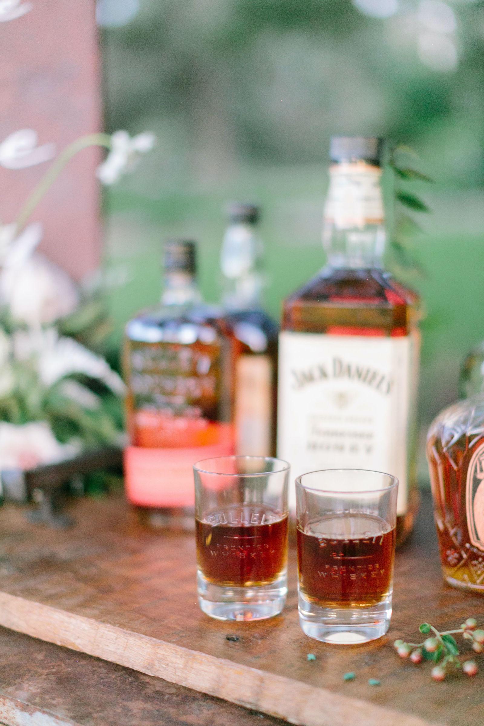 Outdoor Wedding Unique Whiskey Bar | Bulleit Bourbon