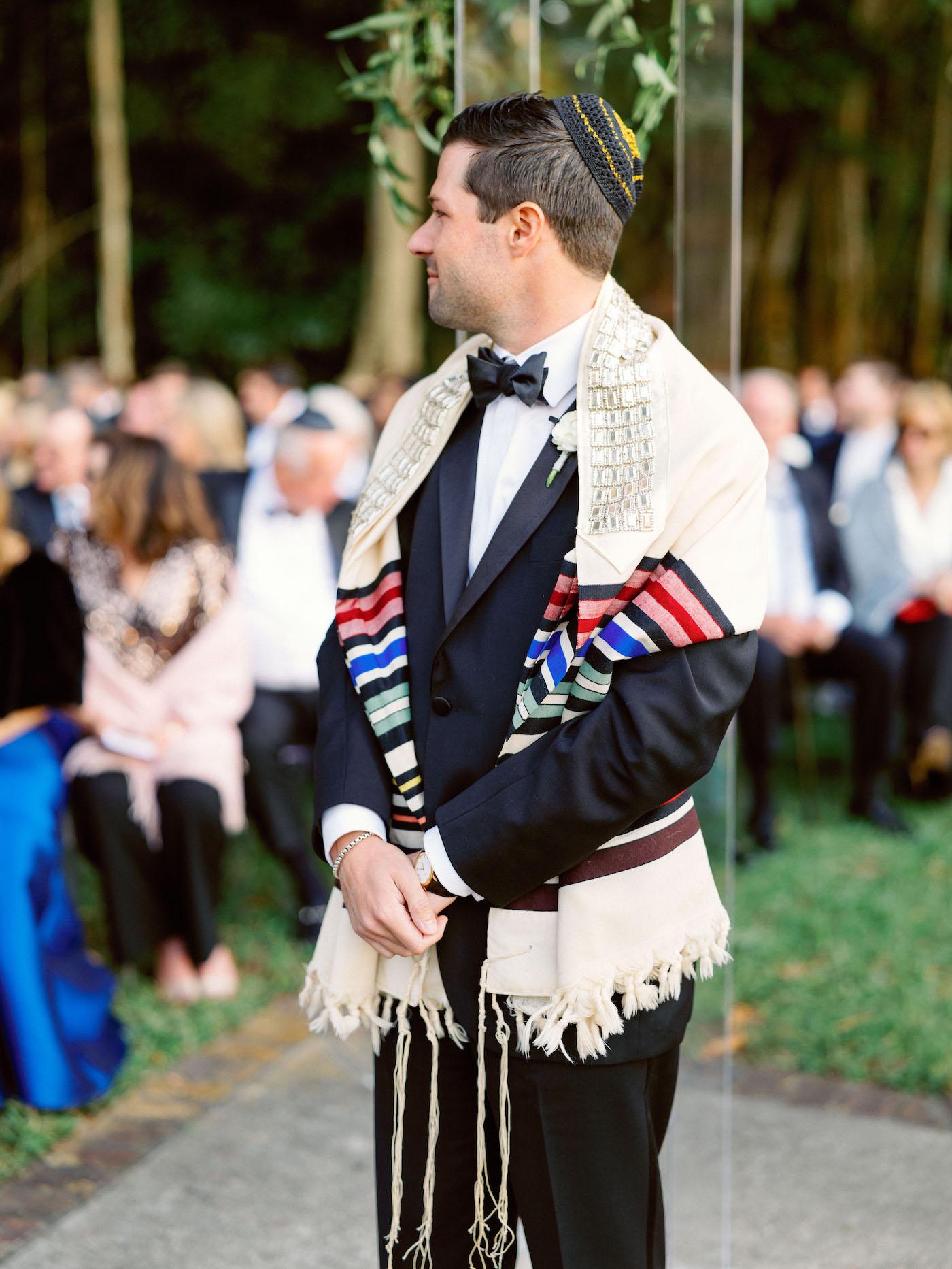 Florida Groom Waiting During Wedding Ceremony, Traditional Jewish Outdoor Wedding