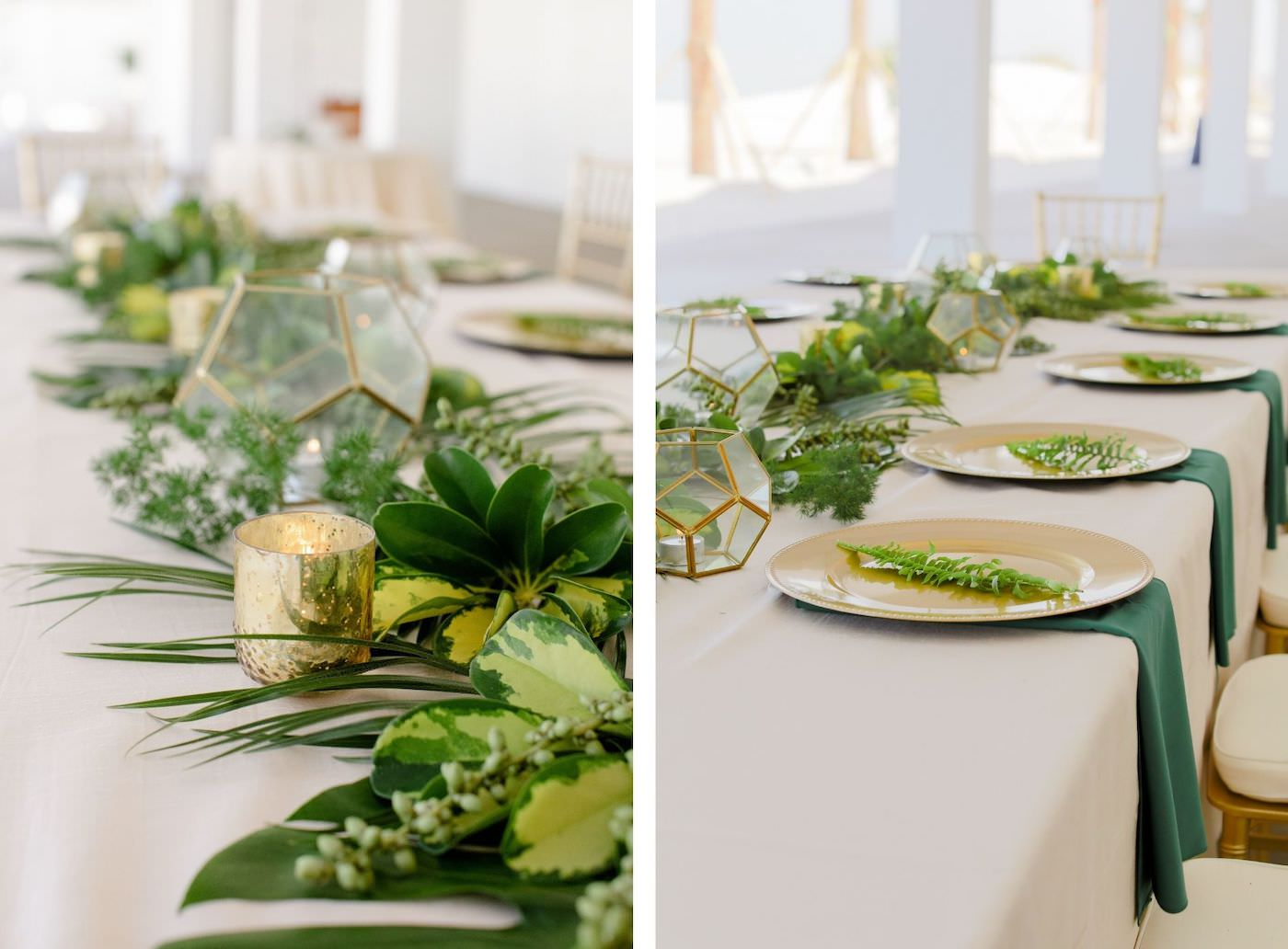 Clearwater Beach Wedding Venue Hilton Clearwater Beach   Modern Tropical Beach Outdoor Wedding Reception Terrace Feasting Table with Champagne Table Linens and Emerald Green Napkins under Gold Charger Plates topped with Ferns   Gold Chiavari Chairs and Tropical Palm Frond Leaf Floral Arrangement Garland and Gold Geometric Candles