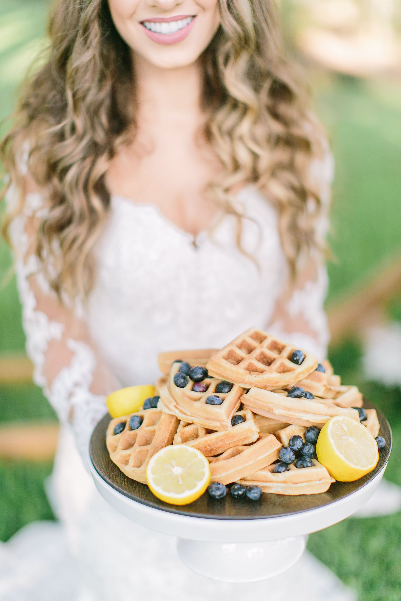 Styled Shoot Brunch Breakfast Wedding Waffle Tower with Blueberries and Lemons
