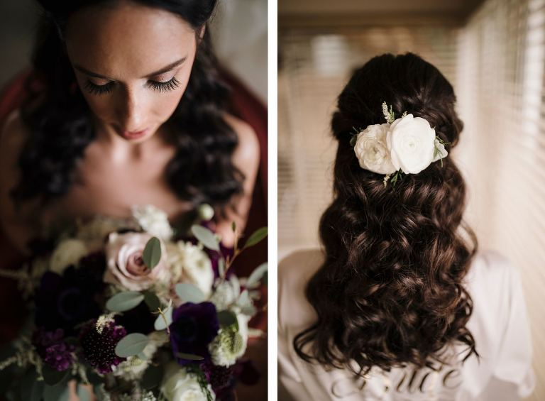 Curly Hair Bride Bridal Hairstyle Natural Curls with Fresh Flowers | Bridal Bouquet with Deep Maroon Burgundy Purple Ranunculus and Blush Roses and Ivory Hydrangea with Seeded Eucalyptus
