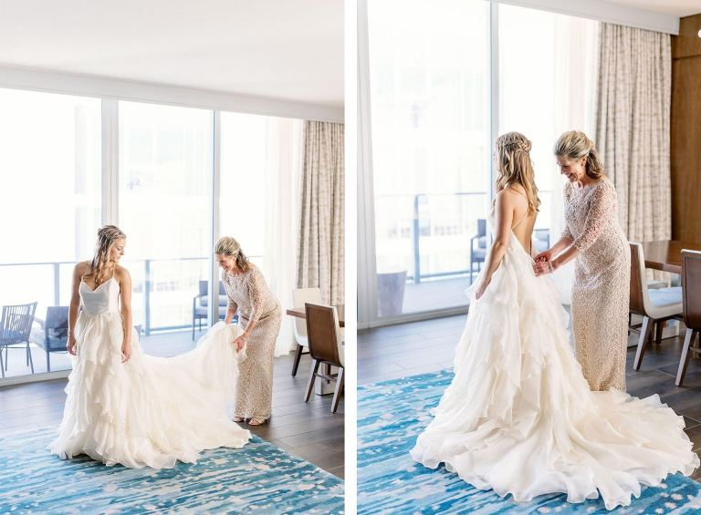 Sarasota Bride Getting Ready in Tiered Wedding Dress, Mother Helping Daughter Put on Wedding Dress