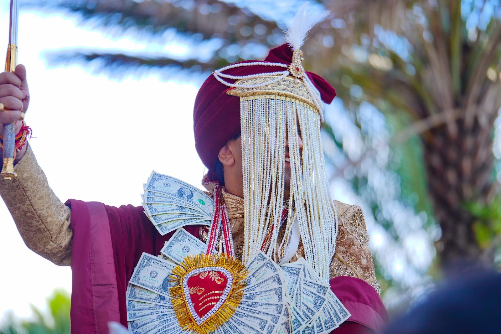 Clearwater Florida Indian Wedding | Groom Baraat Beaded Sehra