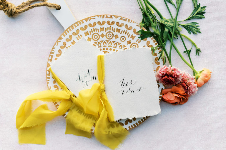 Wedding Vow Books with Calligraphy and Yellow Ribbon