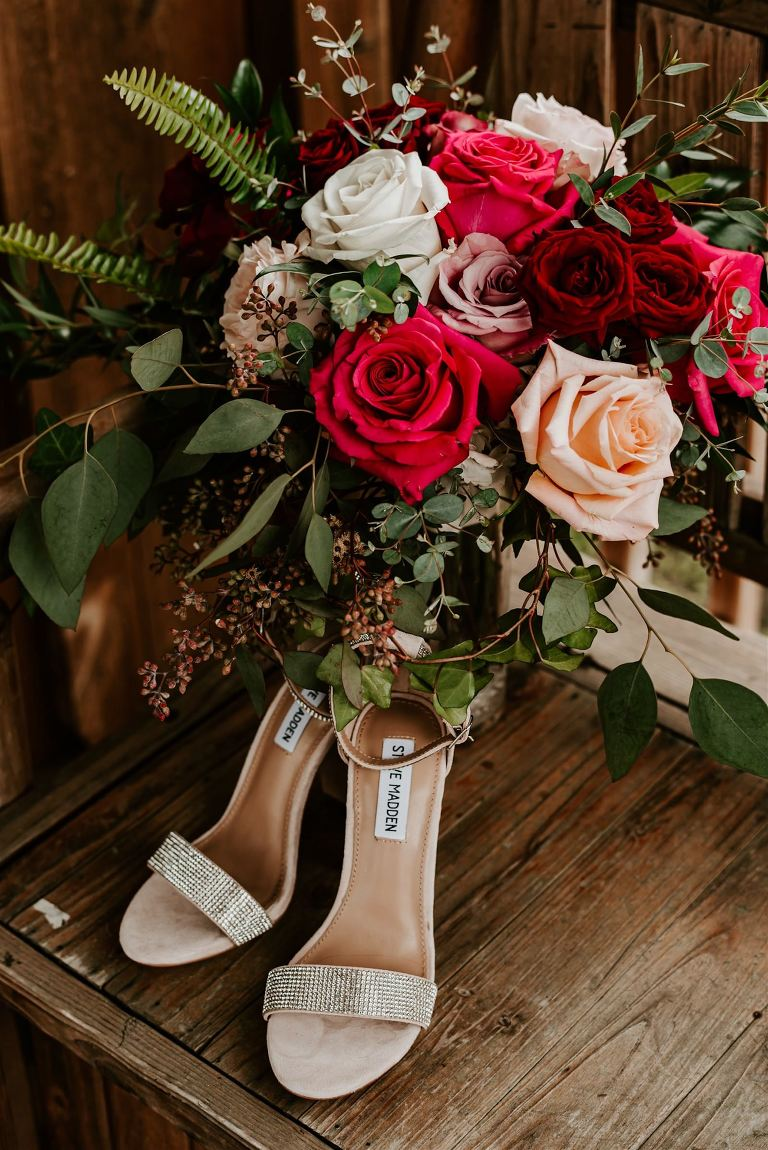 Designer Wedding Shoes Bridal Heels Steve Madden Champagne Rhinsetone Strap High Heels | Deep Red Burgundy Blush Pink Roses and Greenery Bouquet by Tampa Florist Monarch Events and Designs