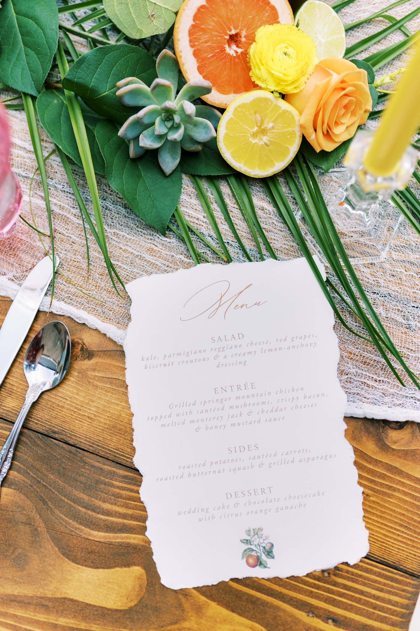 Bright Colorful Florida Citrus Wedding Inspiration | Raw Edge Wedding Menu Cards with Calligraphy and Orange Blossom Motif