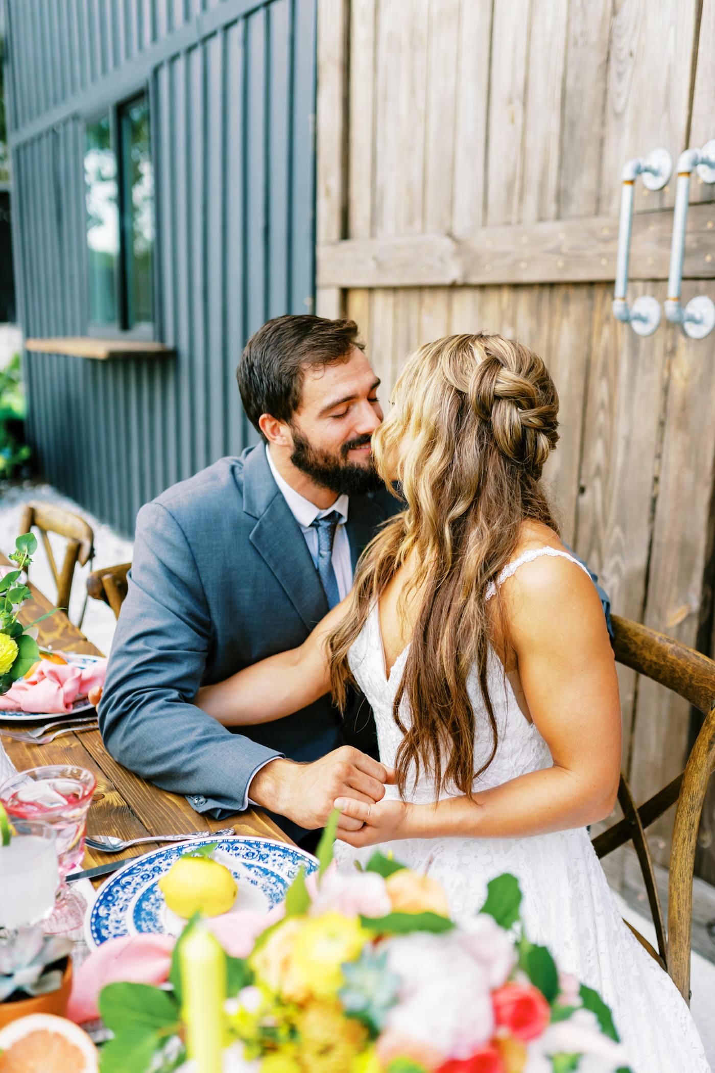 Bright Colorful Florida Citrus Wedding Inspiration | Bride and Groom Outdoor Portrait