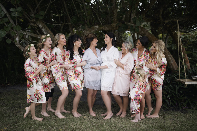 Bride and Bridesmaids Portrait Shot | Bride and Bridesmaids in Floral Silk Robes