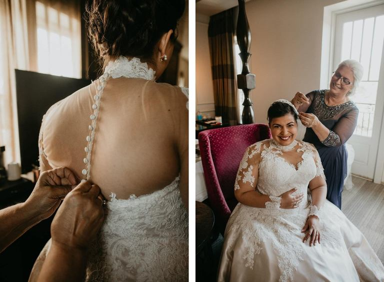 Mother of the Bride Helping Bride Get Dressed and Ready | Champagne and Ivory Lace Allure Bridal Ball Gown with Sweetheart Neckline and Illusion Lace Bodice and Sleeves with Buttons