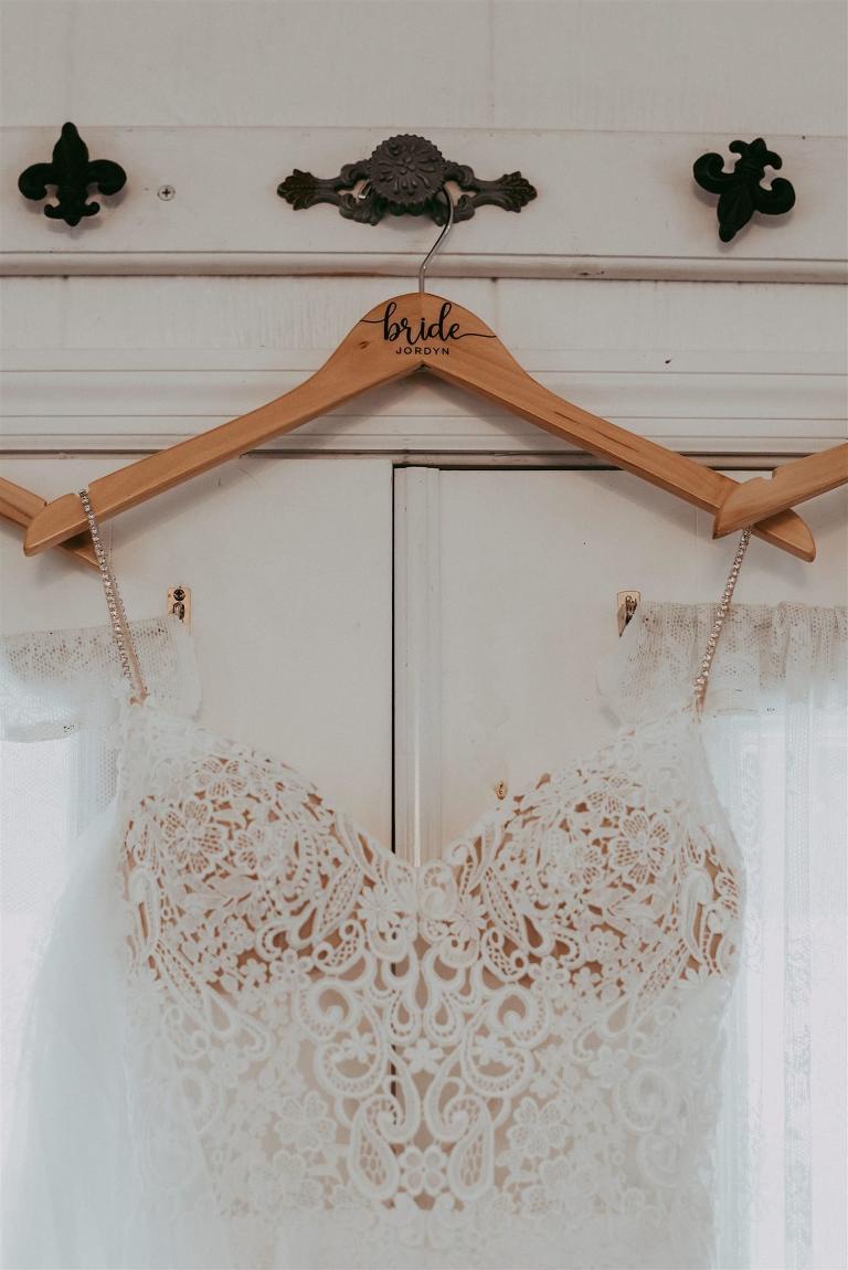 Custom Bridal Wood Hanger | Wedding Dress Hanger Shot