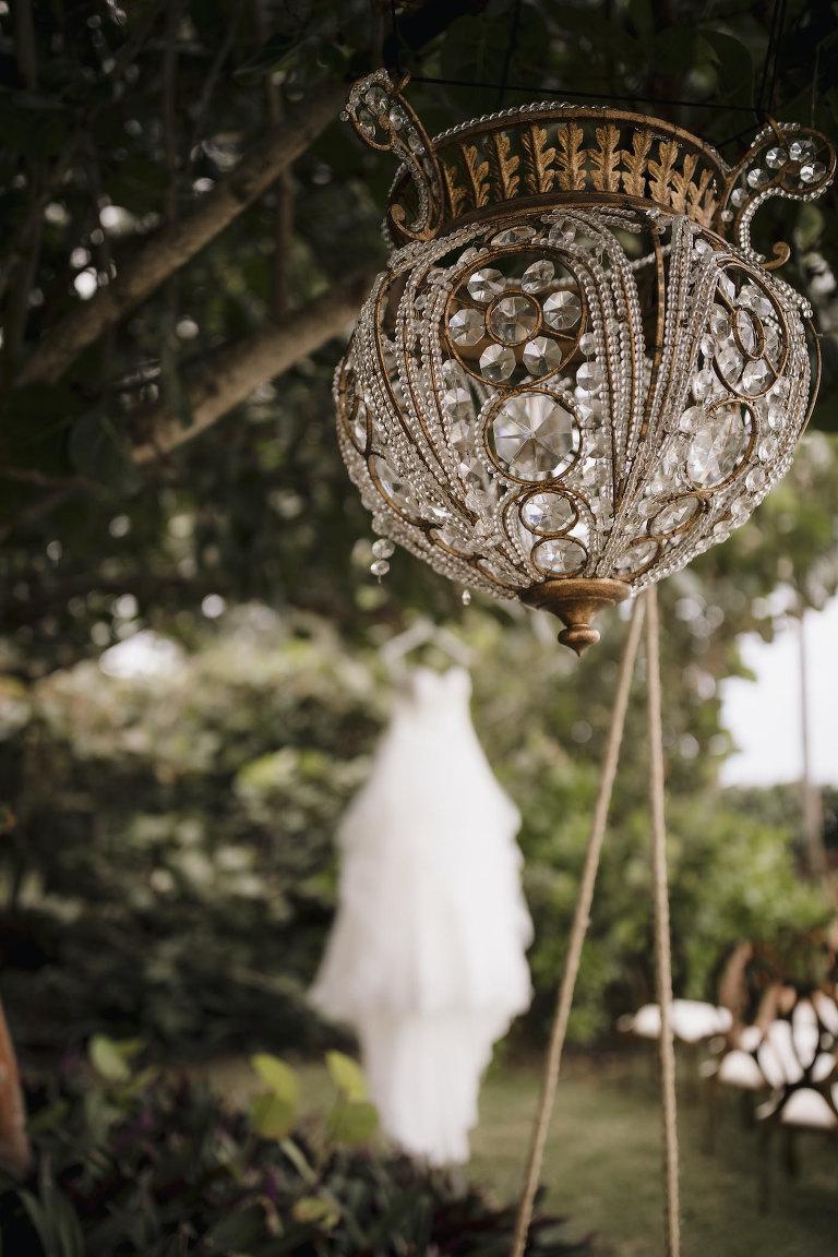 Wedding Dress Hanger Shot   Gold and Crystal Chandelier Lamp