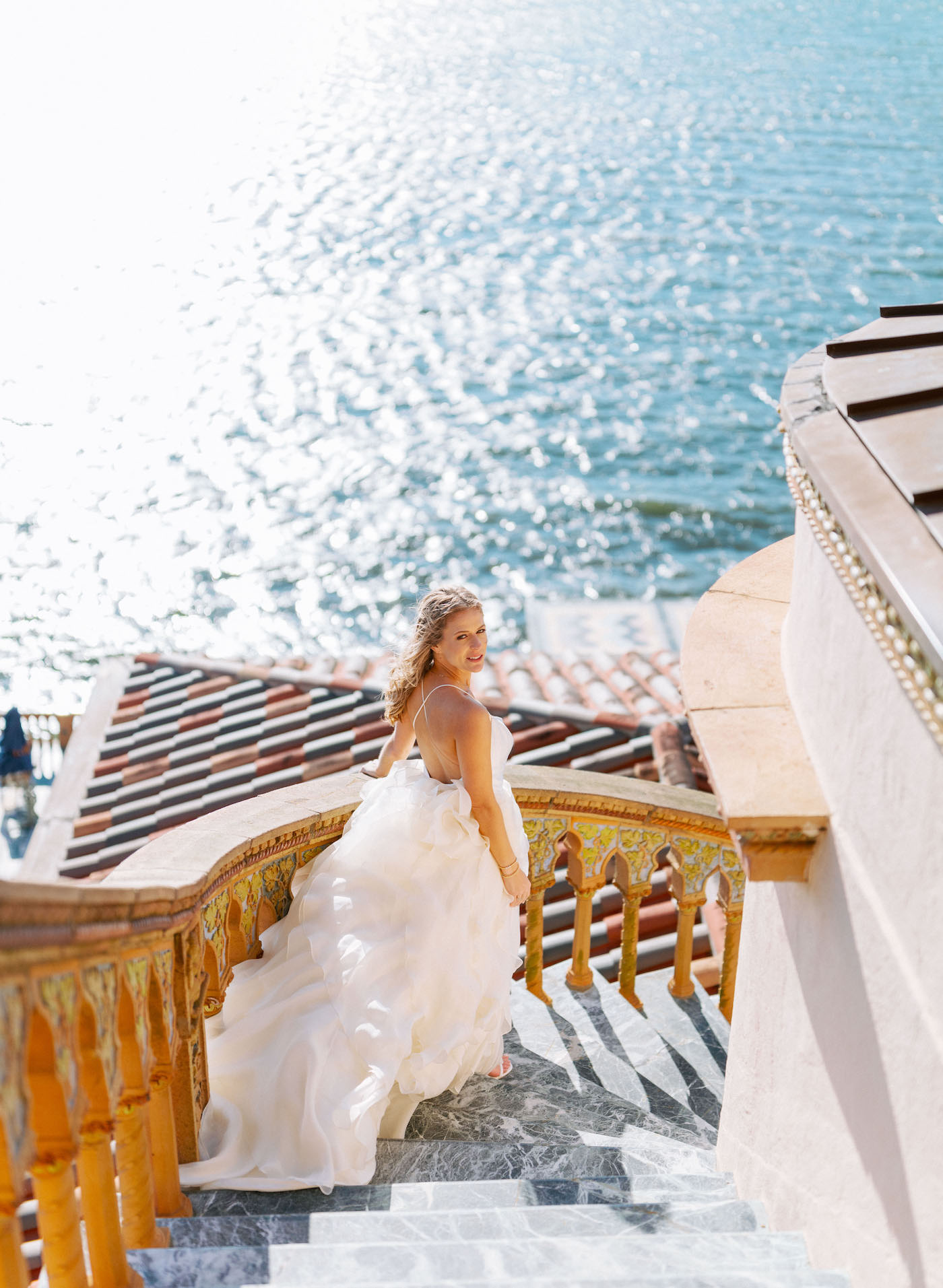 Romantic, Modern Florida Bride At Ca'd'Zan Ringling Mansion Belvedere Tower | Sarasota Wedding Planner NK Weddings