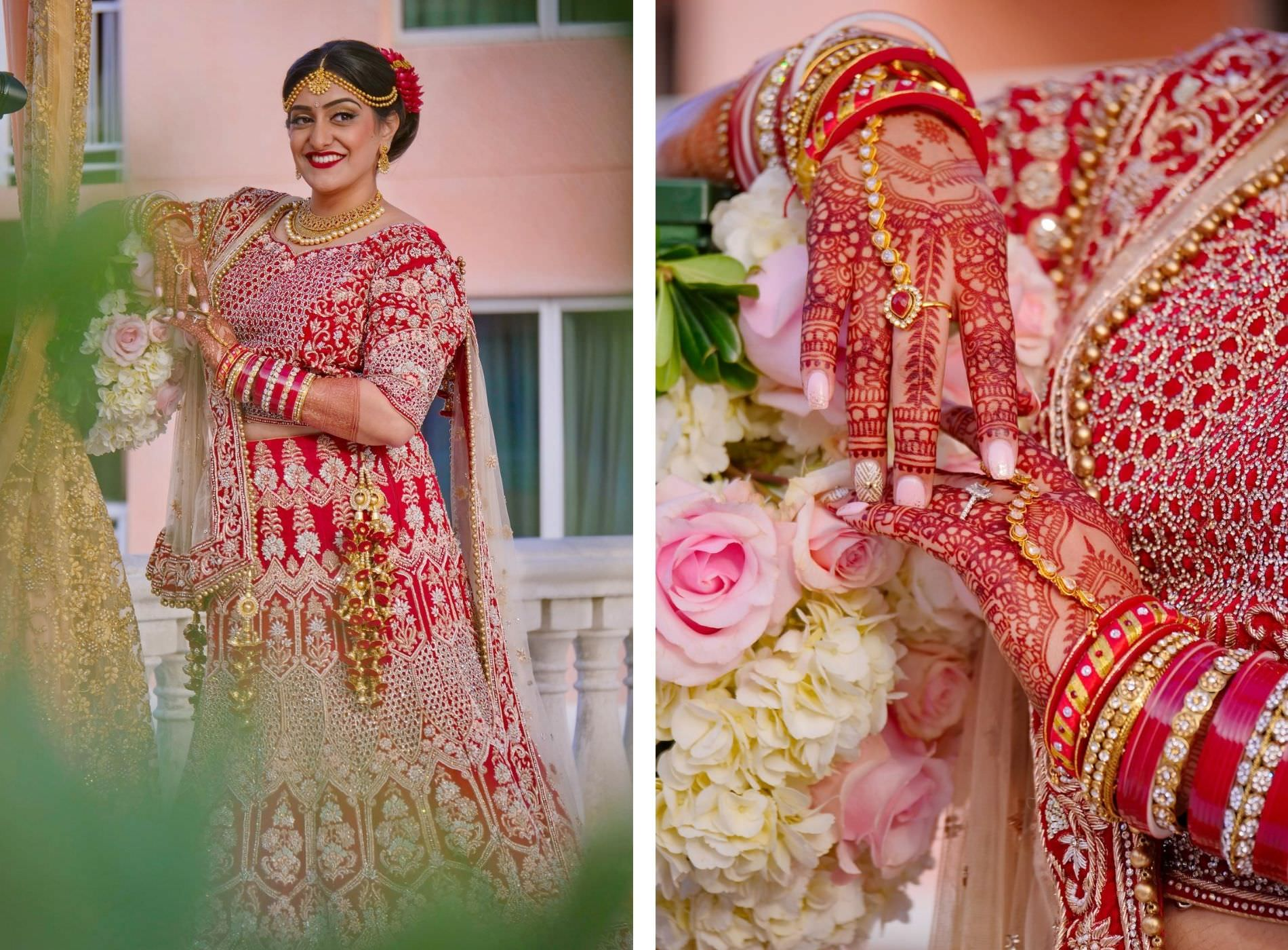 Red and Gold Traditional Indian Bridal Dress Lehenga Saree with Mehndi | Tampa Wedding Hair and Makeup Artist Michele Renee The Studio