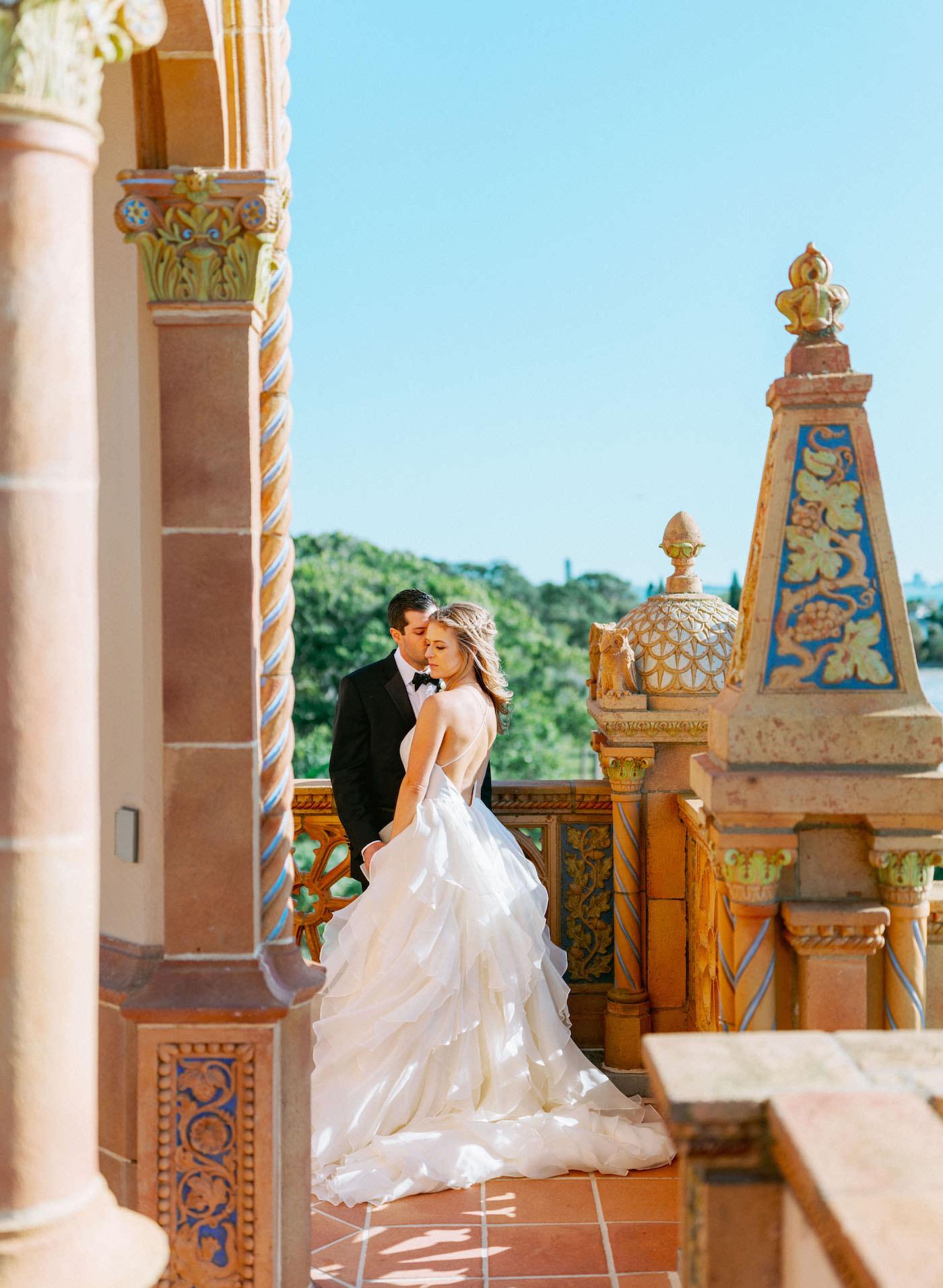 Romantic, Modern Florida Bride and Groom At Ca' d'Zan Ringling Mansion Belvedere Tower | Sarasota Wedding Planner NK Weddings