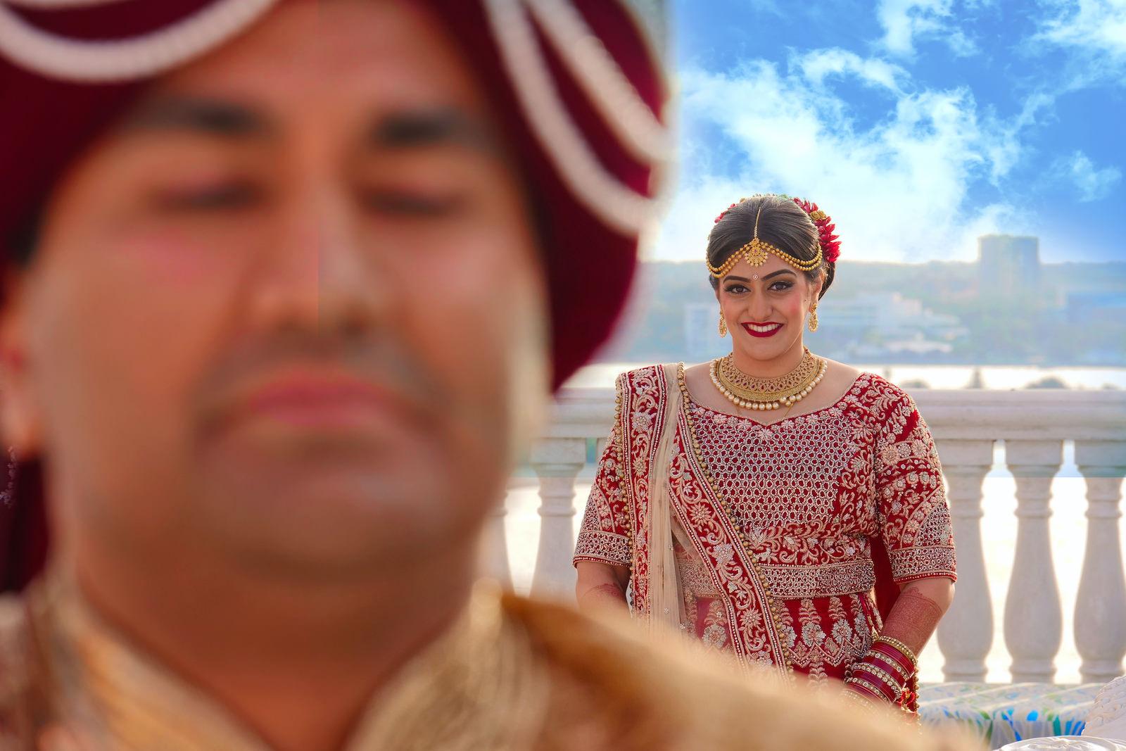 Clearwater Florida Indian Wedding | Bride and Groom First Look | Clearwater Wedding Venue Hyatt Regency Clearwater Beach Resort and Spa Rooftop