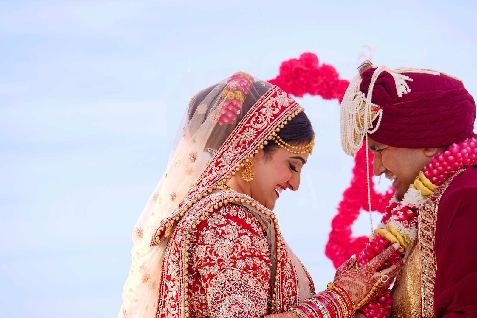 Clearwater Florida Indian Wedding | Bride and Groom First Look