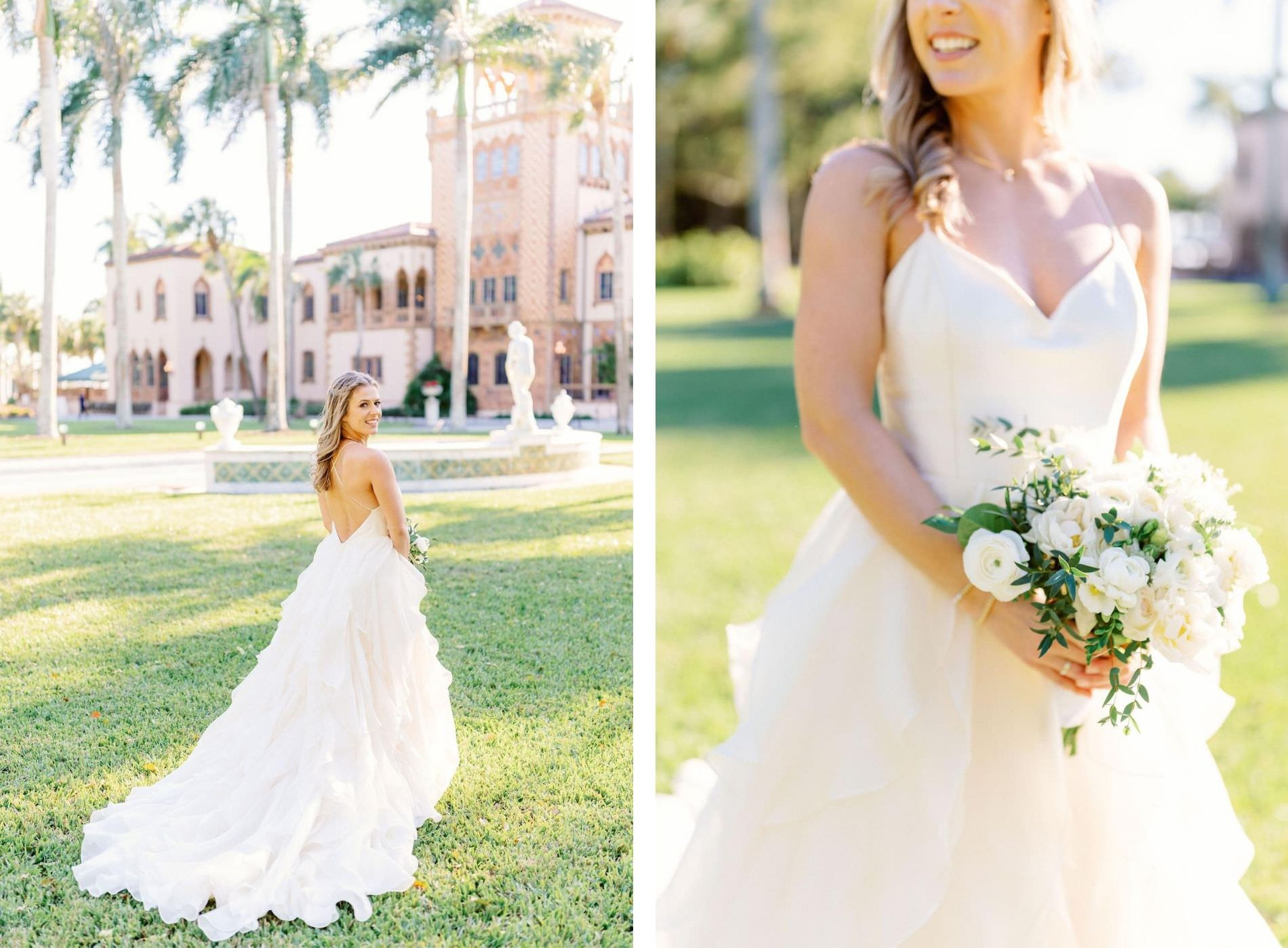 Romantic, Modern Florida Bride Holding White and Ivory Floral Bouquet with Greenery Wearing Tiered Wedding Dress In Courtyard in Ringling Mansion Belvedere Tower | Sarasota Wedding Planner NK Weddings