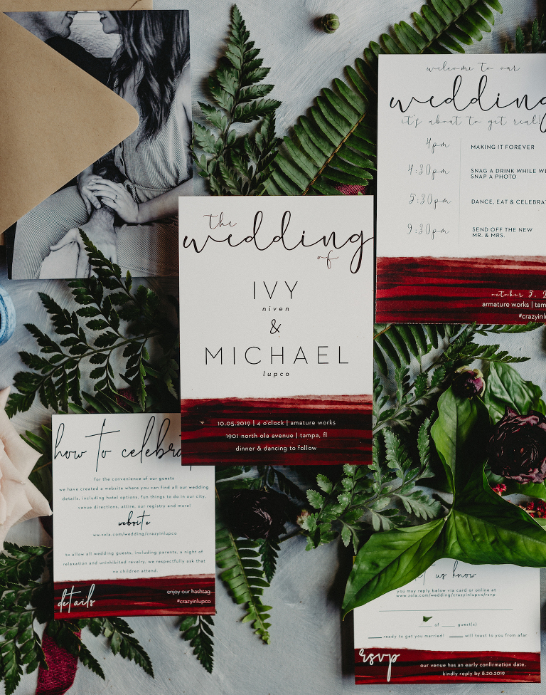 Maroon Burgundy Modern Wedding Invitation Flat Lay Stationery Suite with Greenery Ferns