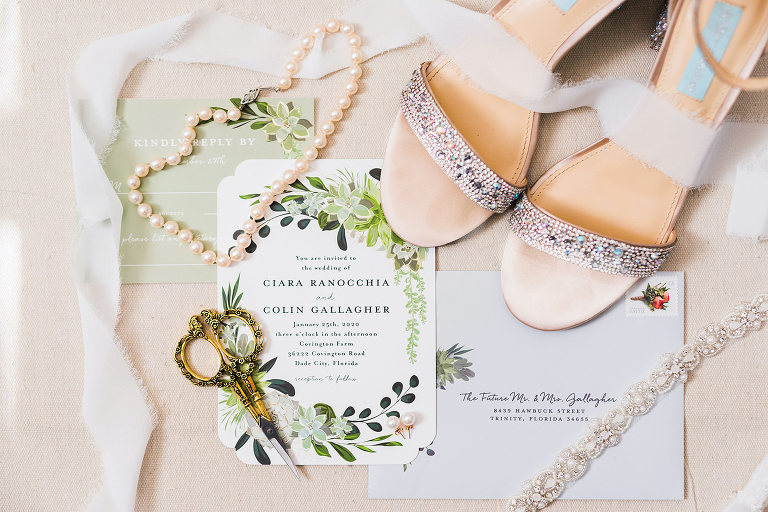 Romantic Bridal Details, Wedding Invitation, RSVP Card, Sage Green Ivory and Grey, Antique Letter Opener with Pearl Necklace and Lace Garter | Florida Wedding Designer and Planner John Campbell Weddings