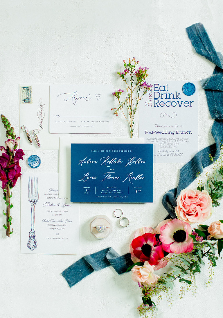 Colorful Luxury Tampa Wedding | Wedding Stationery Suite Flay Lay with Blue and White Calligraphy Invitation by Minted