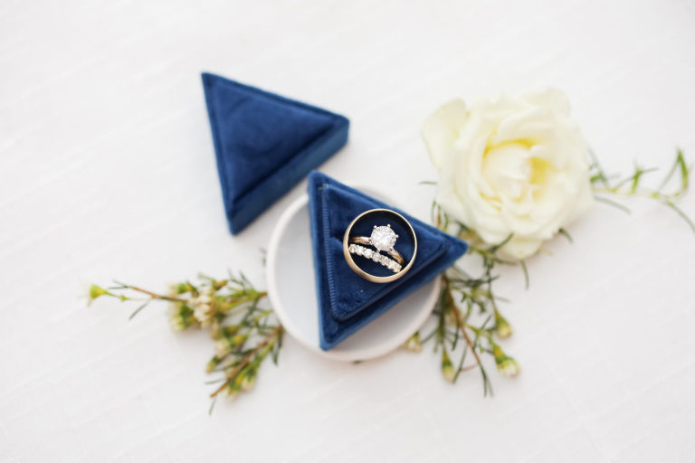 Engagement Ring Bridal Details, Diamond Solitaire with Gold Band, Dark Blue Triangle Velvet Ring Box | Florida Wedding Photographer Lifelong Photography Studio