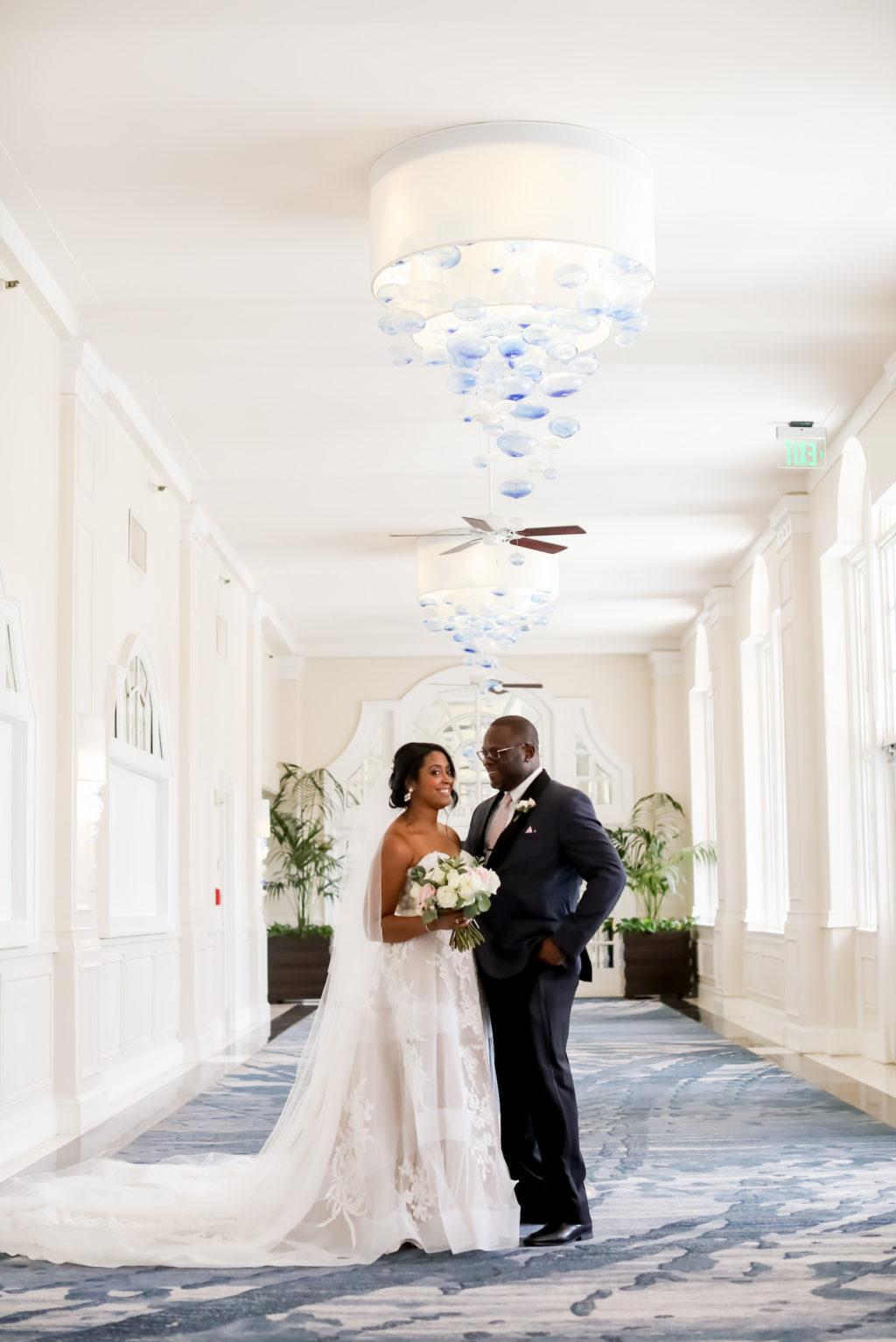 Modern St. Petersburg Bride and Groom Wedding Portraits Inside Wedding Venue The Pink Palace The Don CeSar   Florida Wedding Photographer Lifelong Photography Studio