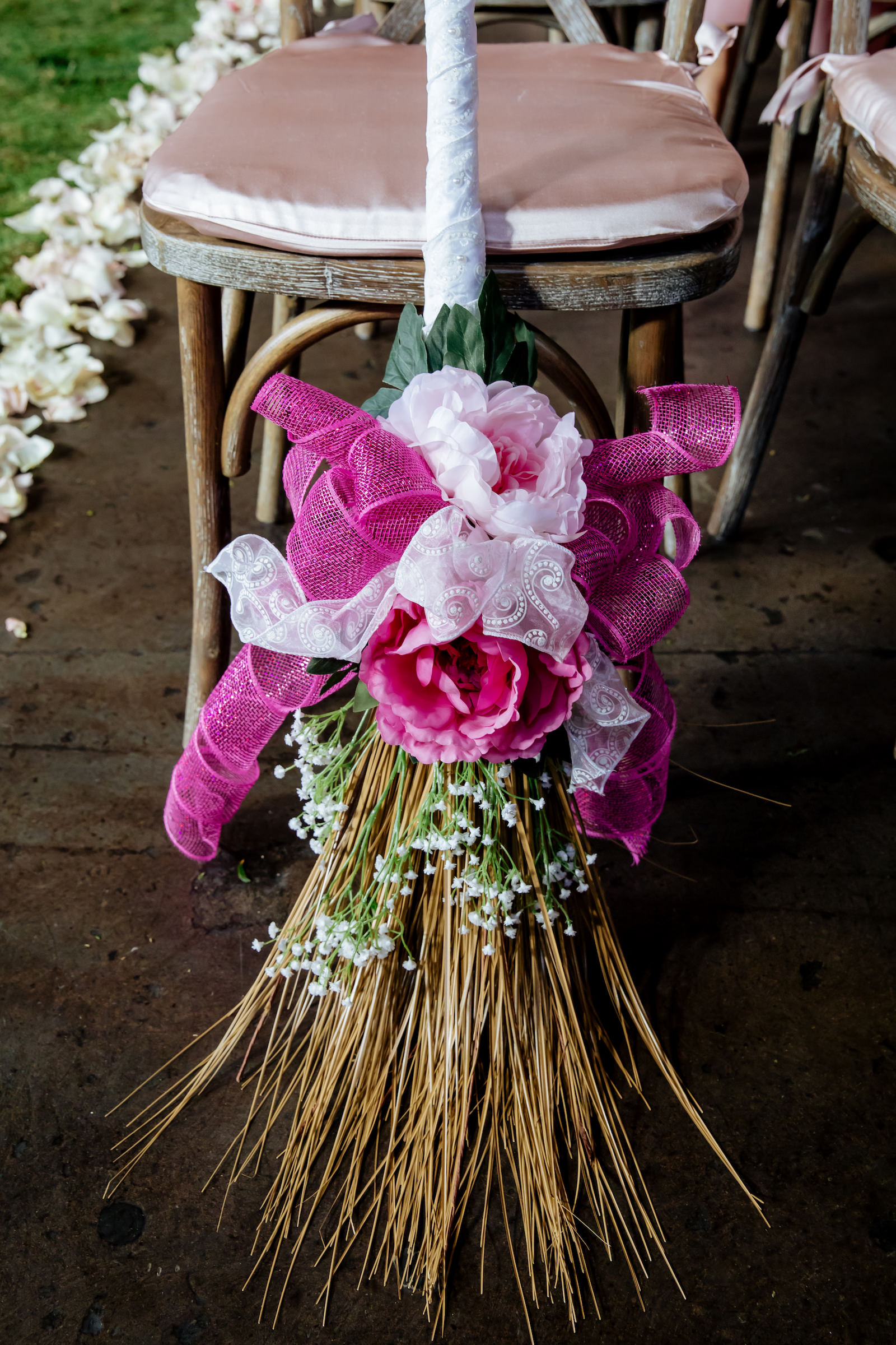Wedding Broom with Pink Roses and Ribbons   Jumping The Broom Tradition