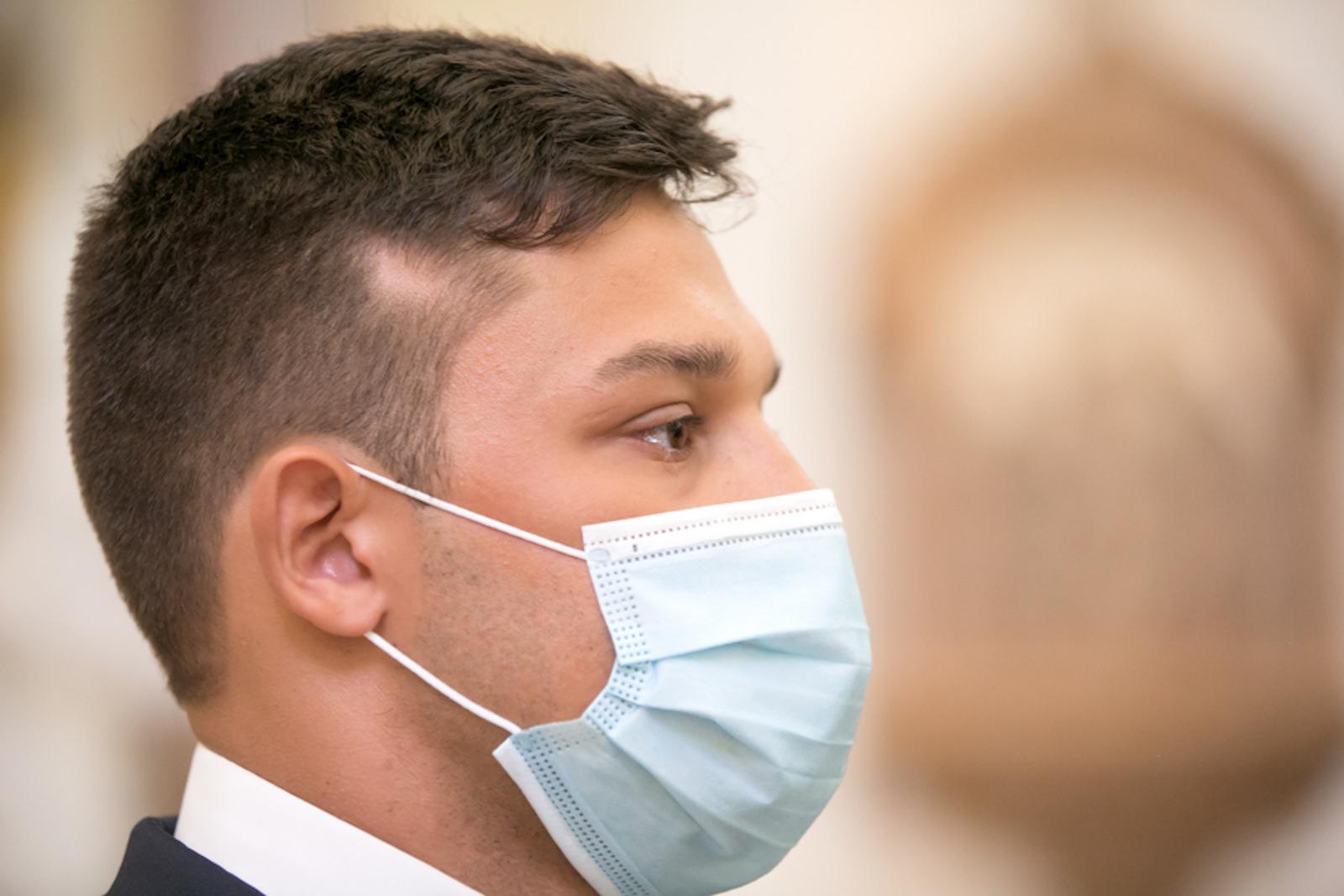 COVID Wedding Coronavirus Pandemic   Groom wearing Face Mask