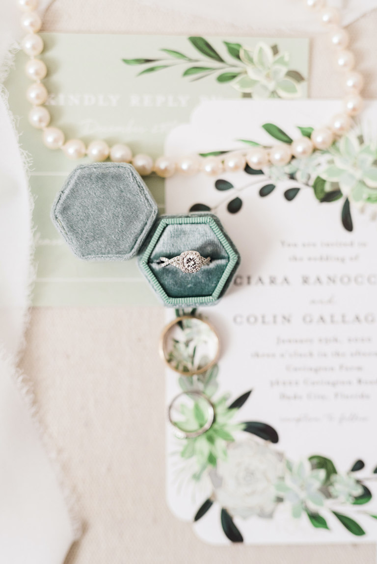 Vintage Inspired Wedding and Engagement Ring, in Velvet Sage Green Ringbox | Florida Wedding Planner and Designer John Campbell Weddings