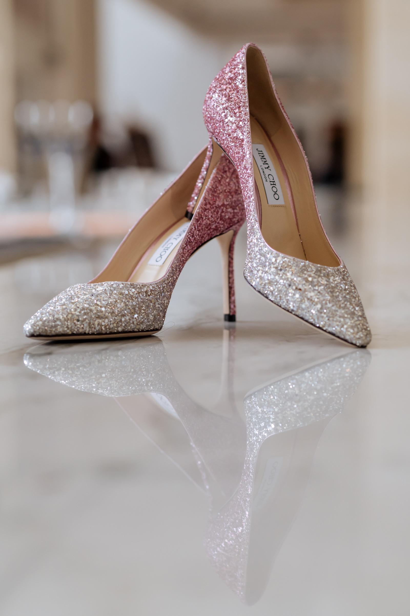 Silver Pink Ombre Glitter Sparkle Jimmy Choo Bride Wedding Shoes Heels