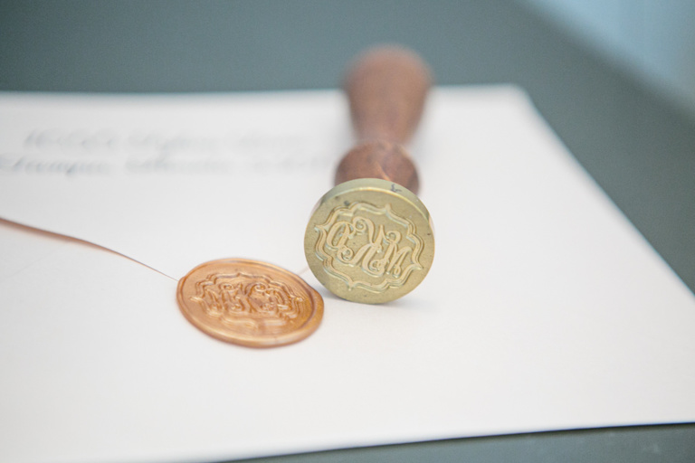 Tampa Wedding Stationery Invitation Envelope with Gold Wax Seal Monogram