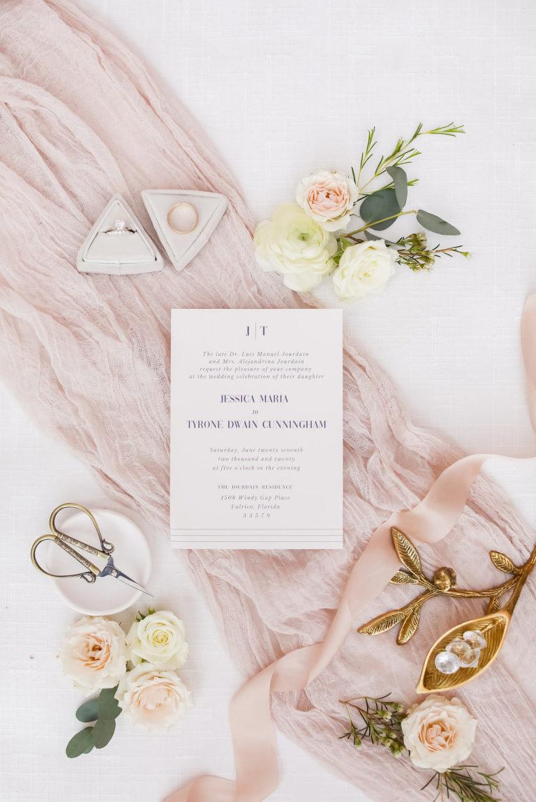 Modern Blush Pink Wedding Invitation, Purple Block Font, with Triangle Shaped Ring Box   Florida Wedding Photographer Lifelong Photography Studio