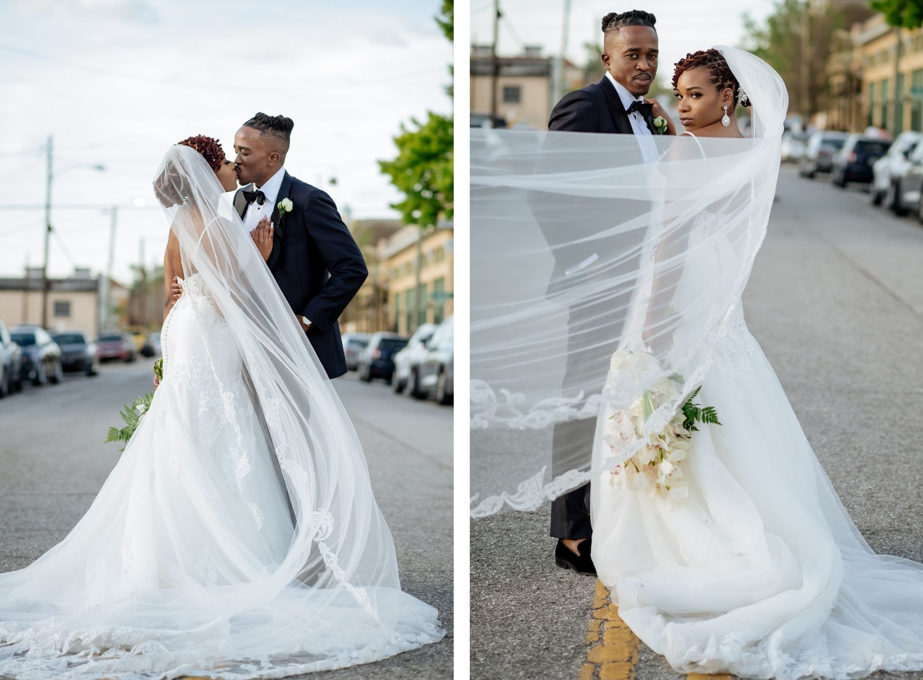Outdoor Tampa Heights Bride and Groom Portrait   Ivory Spaghetti Strap Scoop Back Lace and Tulle Mermaid Martina Liana Wedding Dress Bridal Gown and Cathedral Veil   Groom in Modern Navy Suit with Black Satin Lapel and Bow Tie   White Arm Sheaf Wedding Bride Bouquet with Hydrangea and Orchids   Wedding Photography Veil Shot