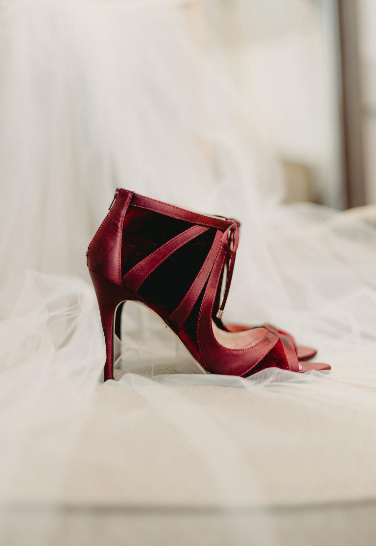 Maroon Burgundy Red Wedding Heels Bridal Shoes
