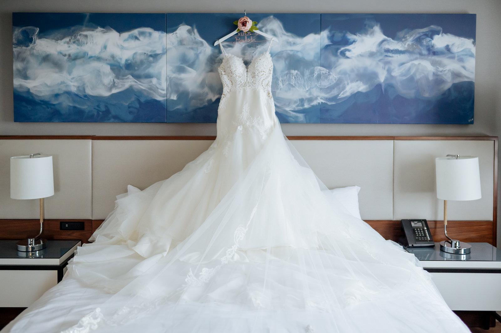 Ivory Spaghetti Strap Sweetheart Neckline Tulle Mermaid Martina Liana Wedding Dress Bridal Gown   Wedding Dress Hanger Shot with Custom Metal Name Bride Hanger