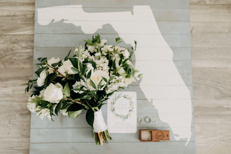 Tampa St Pete Florida COVID Destination Elopement Wedding Bridal Bouquet with White Roses Lisianthus Stock and Greenery