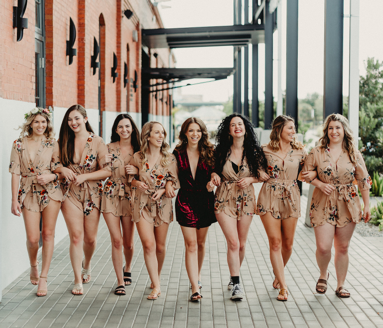 Bride and Bridesmaids Portrait Shot | Bridesmaid Khaki Taupe Burgundy Red Floral Rompers | Dewitt for Love Photography