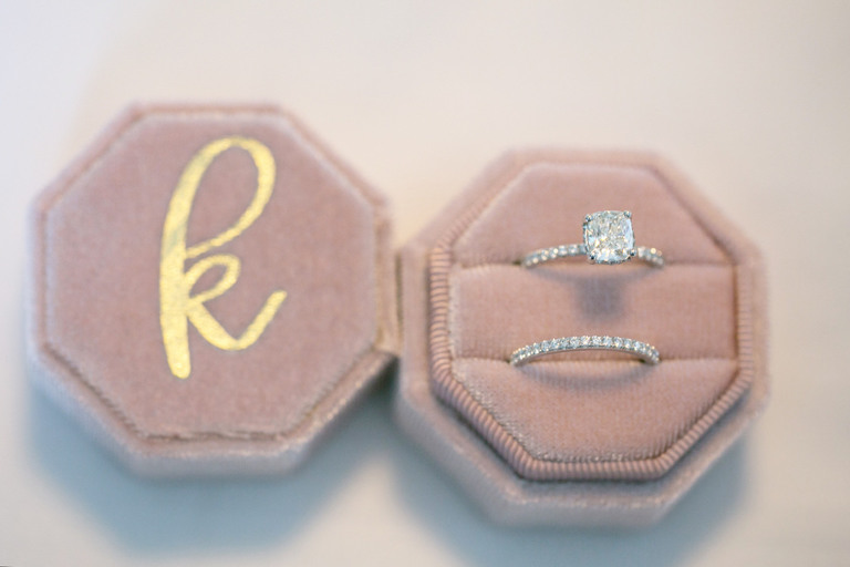 Wedding Ring Shot   Blush Pink Velvet Ring Box with Gold Monogram Initial   Channel Set Diamond Band with Square Cushion Cut Solitaire Diamond Engagement Ring