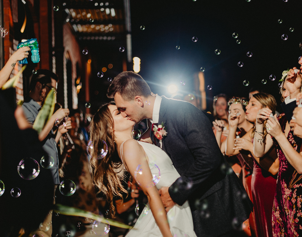 Bride and Groom Send Off Exit with Bubbles | Dewitt for Love Photography