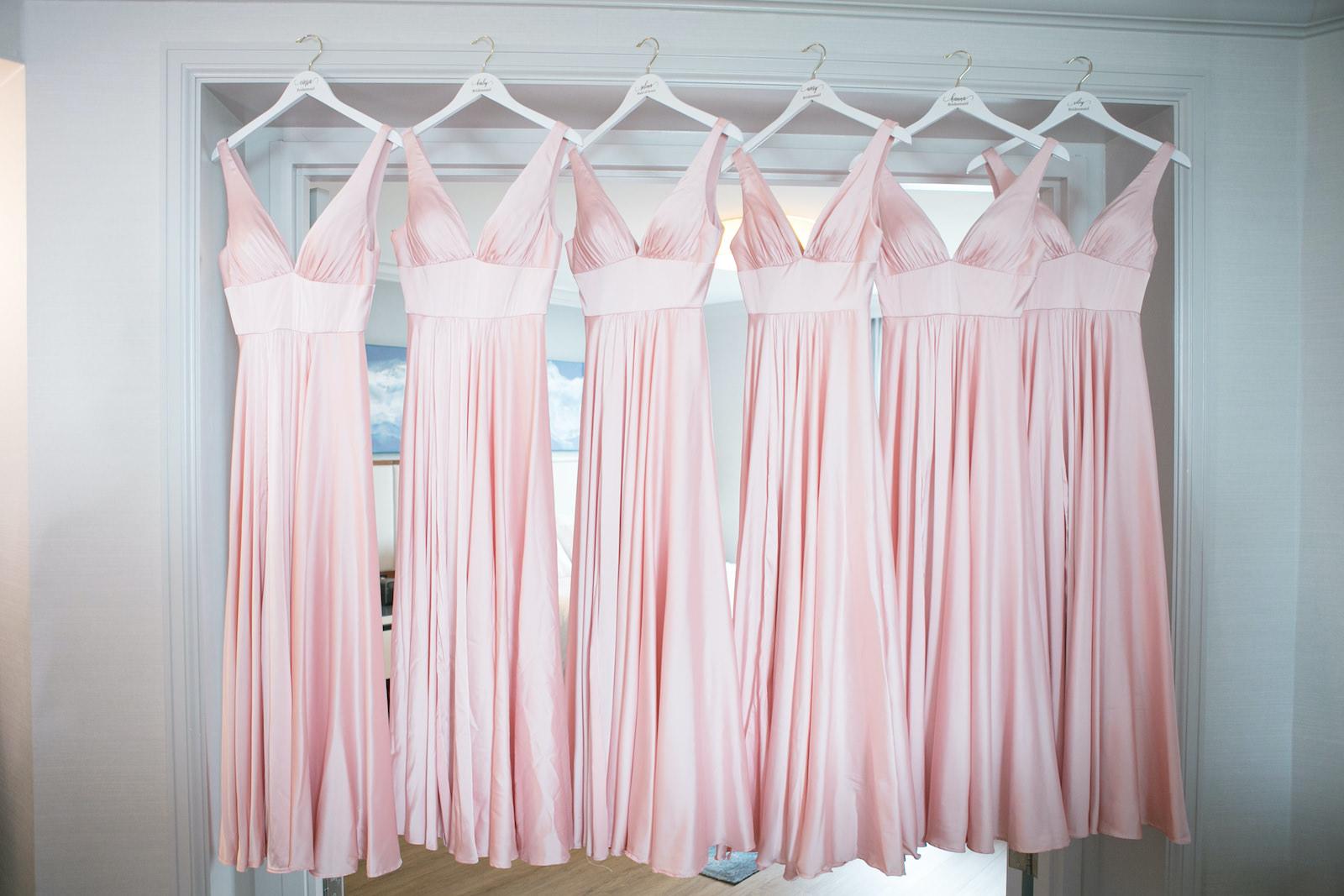 Bridesmaids Dresses Hanger Shot   Blush Pink Long Silk Satin Formal V Neck Bridesmaid Dresses