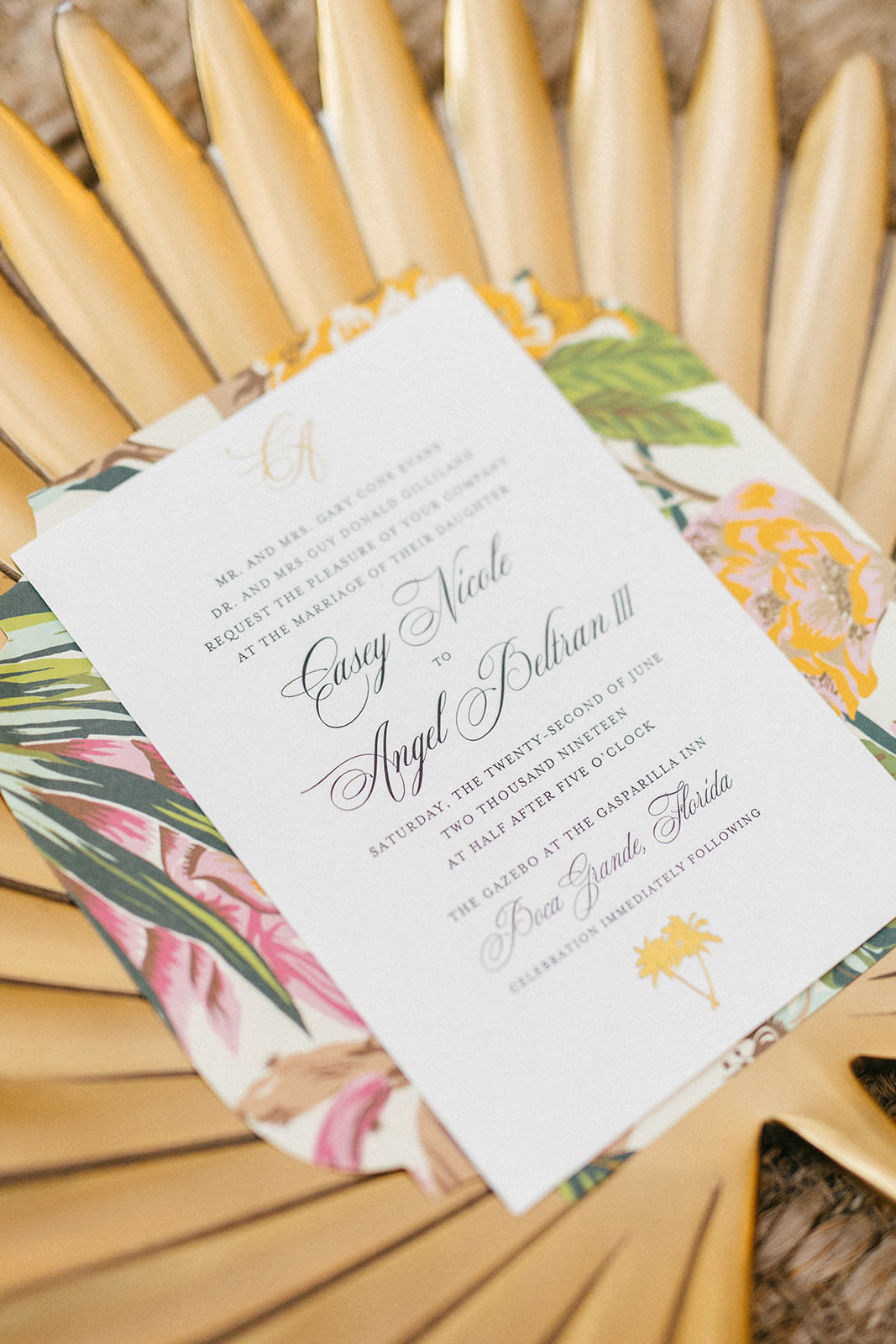 Tropical Themed Wedding Invitation   Doyle Paper Co
