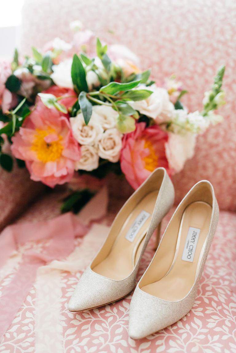 Silver Glitter Designer Jimmy Choo Pointed Toe Bridal Wedding Shoes