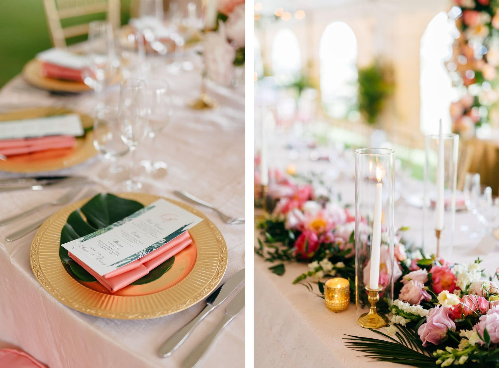Elegant Tropical Wedding Reception Decor, Gold Chargers with Monstera Palm Tree Leaf and Custom Menu, Pink Linen Napkin, Gold Candlesticks, Lush Floral Table Runner   Tampa Bay Wedding Planner NK Weddings