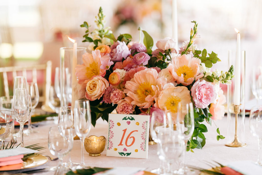 Elegant Tropical Pink, Coral and Purple Low Floral Centerpiece   Tampa Bay Wedding Planner NK Weddings