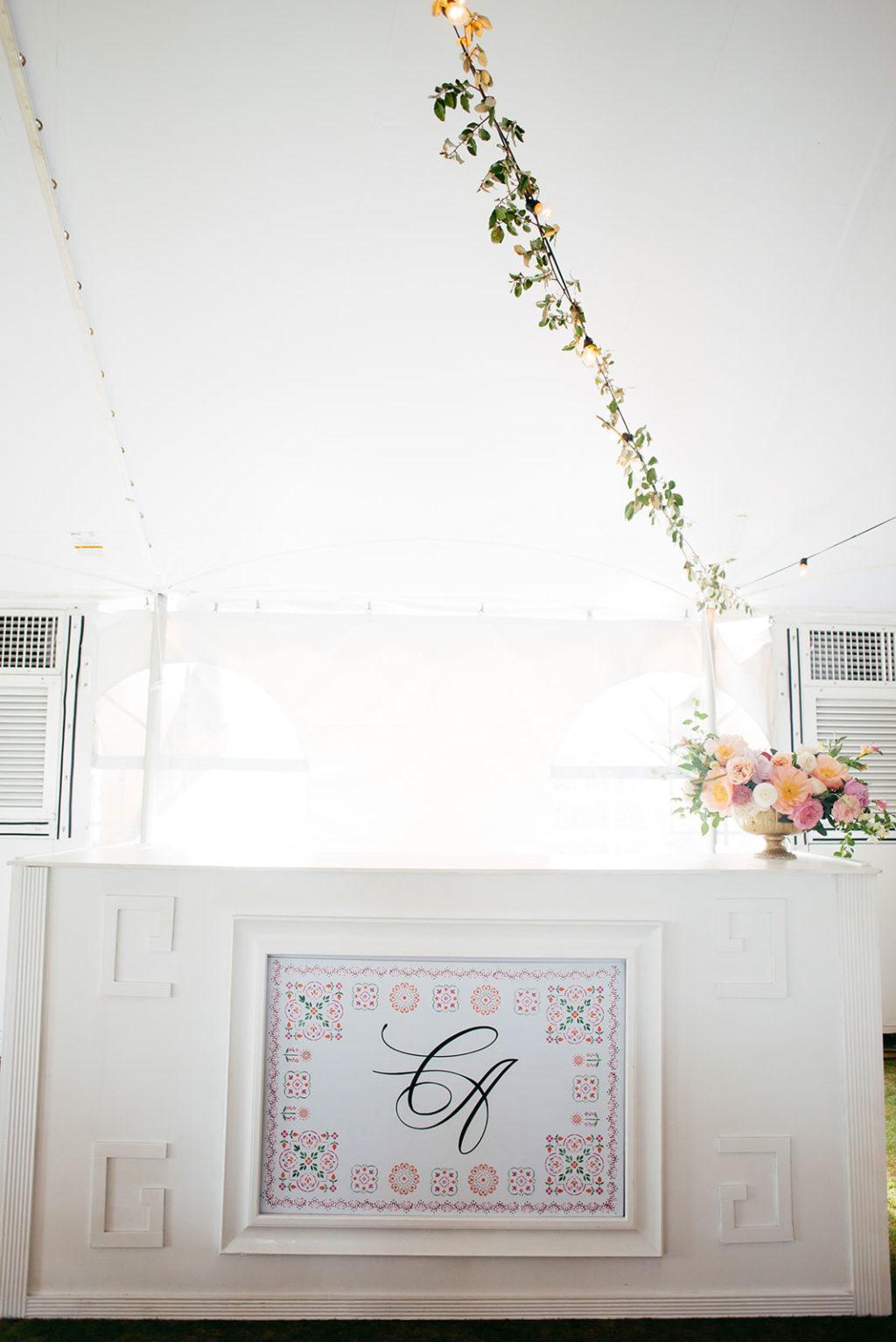 Elegant Tropical Wedding Reception Decor, Hanging Floral Draping, Monogram Photo   Tampa Bay Wedding Planner NK Weddings