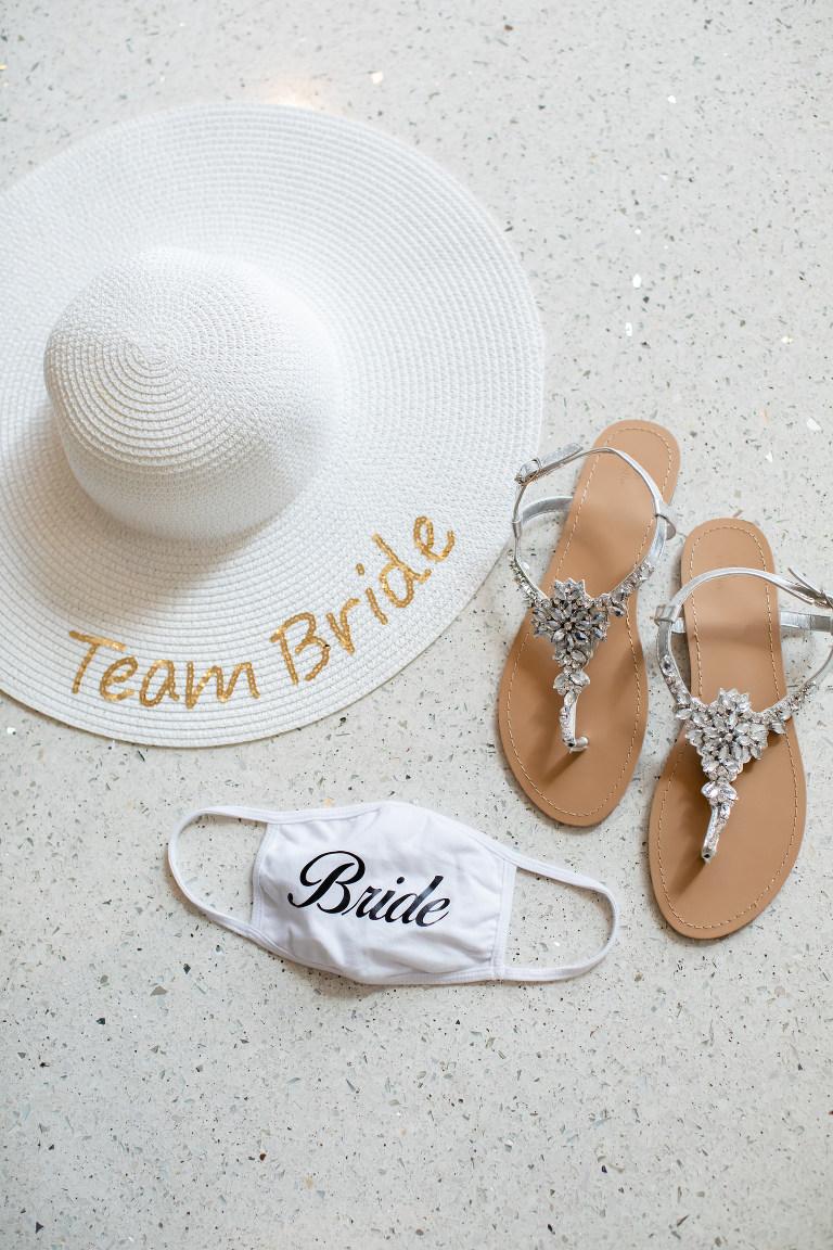 Clearwater Beach Destination COVID Coronavirus Pandemic Wedding | Bride Face Mask | Sparkle Rhinestone Bridal Flip Flops | Team Bride Beach Hat | Lifelong Photography Studios