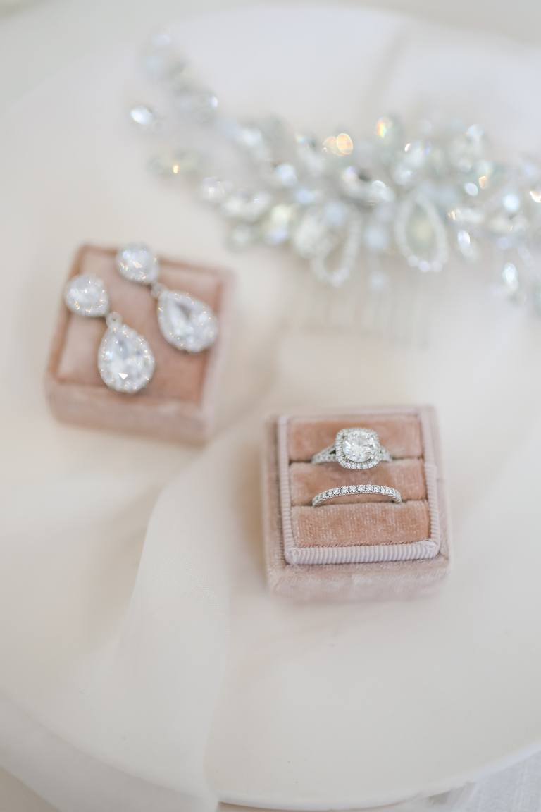 Blush Pink Velvet Ring Box with Square Diamond Cushion Cut Engagement Ring | Diamond Teardrop Chandelier Earrings